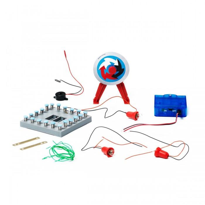 Bondibon Французские опыты Науки с Буки Мастерская электричестваФранцузские опыты Науки с Буки Мастерская электричестваФранцузские опыты Науки с Буки Мастерская электричества.  Этот набор предназначен для того, чтобы познакомить Вашего ребенка с удивительным миром электричества. Схема за схемой, Ваш ребенок узнает об основных понятиях электричества, работая с разными деталями и элементами (резисторы, лампочки, двигатель).   Уровень сложности опытов постепенно увеличивается, поэтому ребенок будет осваивать новую информацию последовательно.   В набор входят: 1 панель для сборки, 1 коробка аккумуляторного отсека, 1 звонок, 1 электрический мотор, 20 рессор, 20 крышек от рессор, 1 сигнальная мигающая лампа, 2 лампочки, 2 электрода, 2 резистора, электрические провода.   Для детей от 7 лет.<br>