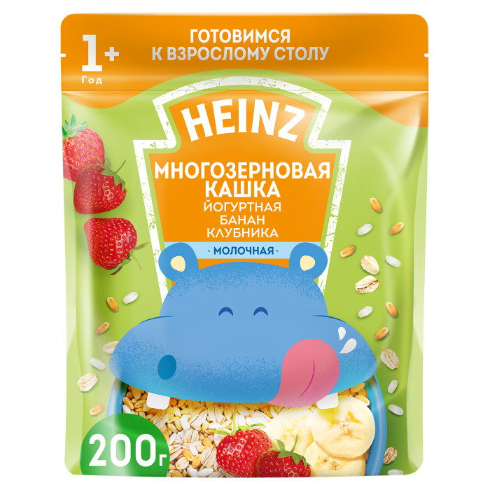 Heinz Молочная Многозерновая кашка Йогурт, банан, клубника с 1 года 200 гМолочная Многозерновая кашка Йогурт, банан, клубника с 1 года 200 гМногозерновая кашка Йогурт, банан, клубника - молочная каша с кусочками и хлопьями для малышей от 12 месяцев. Имеет смешанную текстуру - однородная основа с включением более крупных кусочков. Обогащена всеми витаминами и минералами, которые так необходимы малышу в этом возрасте. К тому же в кашку добавлены фрукты - банан, клубника, - которые улучшают ее вкус. Упакована в удобный индивидуальный сашет. Состав: пшеничная мука, сухое цельное молоко, сахар, овсяные хлопья, сухие сливки, продукт экструдированный рисовый (рисовая крупа, сахар, соль), кукурузное масло, банан, сухое обезжиренное молоко, пребиотические волокна цикория 2% (инулин, олигофруктоза), клубника, натуральный йогуртовый порошок, карбонат кальция, лактат кальция, железо, окись цинка, соль, йодистый калий, витамины: А, D, E, В1, В2, В12, РР, фолиевая кислота, биотин, пантотеновая кислота.Особенности:Обогащена 12 витаминами и 4 минералами Не содержит специй, натуральных улучшителей вкуса, ароматизаторов, вкусовых добавок, консервантов, красителей, генетически модифицированных ингредиентовСодержит глютен, молокоЭнергетическая ценность на 100 г. готового продукта: 96 КкалПищевая ценность на 100 г. готового продукта: белки - 3,1 г, углеводы - 15 г, жиры - 2,6 г<br>