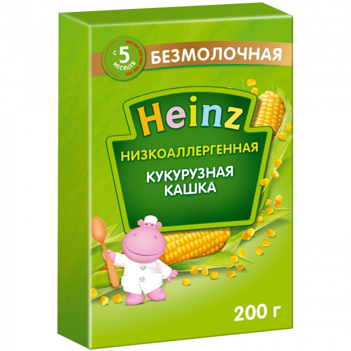 Heinz Безмолочная Низкоаллергенная кукурузная кашка с 5 мес. 200 гБезмолочная Низкоаллергенная кукурузная кашка с 5 мес. 200 гКогда витаминов и минералов, поступающих в организм малыша с материнским молоком, становится недостаточно, педиатры рекомендуют постепенно вводить прикорм. Попробуйте низкоаллергенные кашки Heinz приготовленные без добавления молока, сахара и глютенсодержащих ингредиентов. Таким образом вы снизите риск появления аллергических реакций. Низкоаллергенные каши также рекомендуются вегетарианцам, детям и взрослым с непереносимостью молочного белка, сахара, глютена. Начинайте вводить новый продукт с 1 чайной ложки, постепенно увеличивая порцию с возрастом и аппетитом ребенка. Кашу можно развести водой или соком. Если у ребенка нет аллергии к молочным белкам — грудным молоком или детской молочной смесью. Состав: кукурузная и рисовая мука, фосфат кальция, карбонат кальция, железо, окись цинка, витамины: А, D, E, B1, B2, B6, B12, PP, C, фолиевая кислота, биотин, пантотеновая кислота.<br>