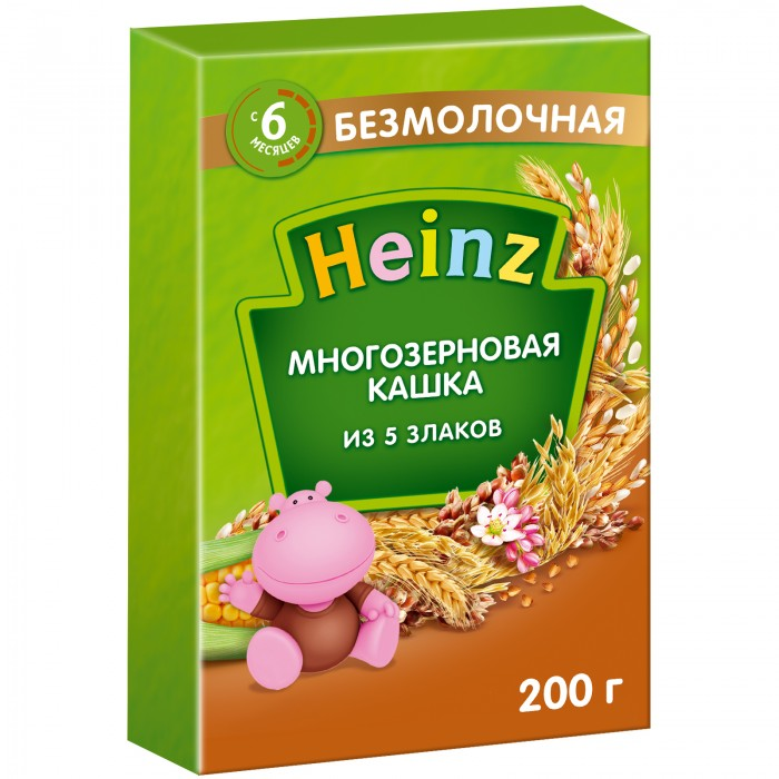 Heinz Безмолочная многозерновая кашка из 5 злаков с 6 мес. 200 гБезмолочная многозерновая кашка из 5 злаков с 6 мес. 200 гКогда врач рекомендует расширить рацион ребенка, попробуйте вкусную и полезную «Многозерновую кашку из 5 злаков».«Многозерновую кашку из 5 злаков». Каши, приготовленные из разных круп, особенно полезны, так как они позволяют комбинировать полезные свойства нескольких злаков. Начинайте прикорм с 1 столовой ложки, постепенно увеличивая порцию с возрастом и аппетитом ребенка. Кашу лучше всего разводить молоком. Детям, не употребляющим молока, можно приготовить ее на соевой смеси, воде или соке, добавив по желанию половину чайной ложки сливочного или растительного масла. Состав:  рисовая, овсяная, гречневая, пшеничная, кукурузная мука, сахар, карбонат кальция, железо, окись цинка, йодистый калий, витамины: А, D, Е, В1, В2, В6, В12, РР, С, фолиевая кислота, биотин, пантотеновая кислота.<br>