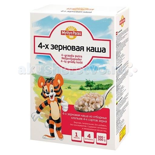 Myllyn Paras Безмолочная Каша 4 злака 300 гБезмолочная Каша 4 злака 300 г4-х зерновая каша Мюллюн Парас изготовлена из отборных зерен 4-х сортов, расплющенных в тонкие хлопья, без добавок, не содержит консервантов. Содержит витамины и минеральные вещества. Она великолепно подходит для приготовления детской каши. Также можно использовать в качестве добавки в йогурт или кисель.  Состав: Рожь, пшеница, овес, ячмень. Время варки: 1 мин.<br>