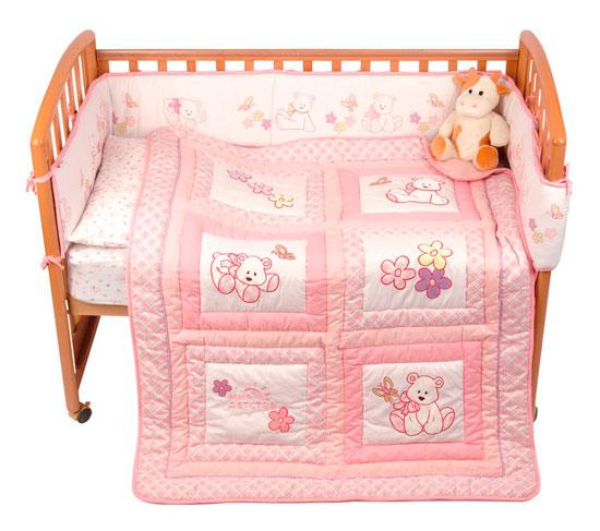 Комплект в кроватку Мир детства Белый мишка (5 предметов)