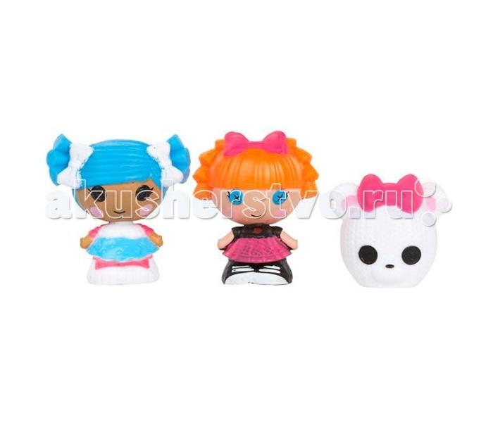 Lalaloopsy Игровой набор Малютки 3 шт.: Снежинка, Отличница, МишкаИгровой набор Малютки 3 шт.: Снежинка, Отличница, МишкаЛюбимые многими девочками куколки Лалалупси стали малютками! Серия миниатюрных куколок Lalaloopsy Tinies создана специально для девочек, которые любят минифигурки и коллекционирование.   Эти симпатичные малышки, размером около 3.5 см, ничем не уступают своим «старшим сестричкам», куклам Лалалупси других серий. Несмотря на их миниатюрность, фигурки очень детализированы, хорошо прокрашены и имеют очень милые личики.   Каждая игрушка имеет имя, характер и соответствующий им наряд. Многообразие персонажей позволяет собрать большую, яркую, неординарную коллекцию куколок малышек с глазами-пуговками.  Игрушки выполнены из высококачественного пластика, приятного на ощупь и безопасного для детского здоровья.  В набор входит три минифигурки – две малютки Лалалупси Тинс и зверюшка. Куколки совместимы с игровыми наборами серии Lalaloopsy Tinies – домиками, замками, клиникой для питомцев и другими игрушками.<br>
