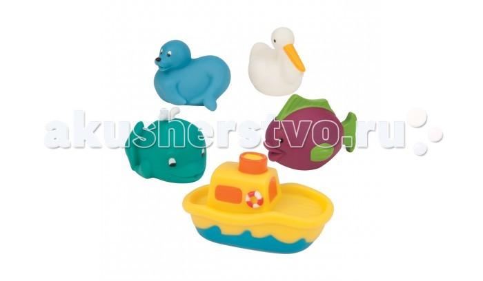 Battat Игрушки для ванны Морские животныеИгрушки для ванны Морские животныеBattat Игрушки для ванны Морские животные огромная радость для малыша.  Набор из 5 морских животных (морской котик, уточка, рыбка, дельфин, кораблик), которые могут плавать и набирать в себя воду.   В каждом изделии есть небольшое отверстие, благодаря которому можно наполнить водой игрушку и брызгаться струйкой воды. Это очень увлекательно и невероятно весело. Разноцветные игрушки развлекут вашего малыша во время купания и помогут выучить названия некоторых животных.<br>