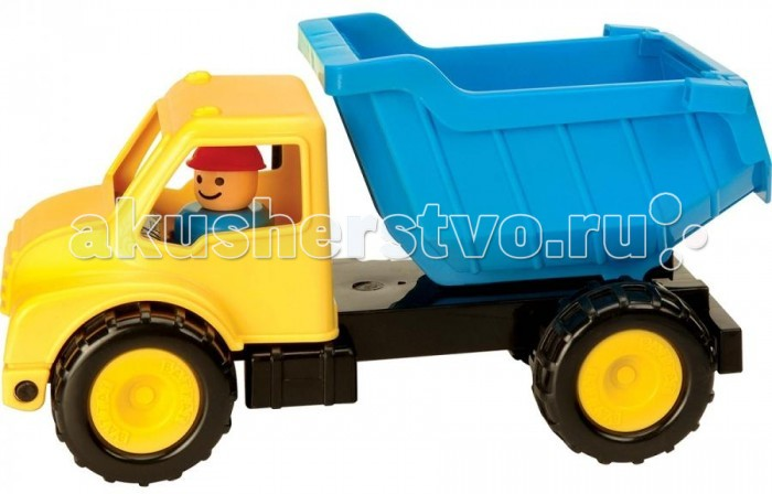Battat Грузовик-самосвалГрузовик-самосвалBattat Грузовик-самосвал это отличный выбор для Вашего ребенка!  Этот грузовик, окрашенный в яркие и сочные голубые и желтые цвета, сделает любую сюжетно-ролевую игру мальчика самой захватывающей и увлекательной.   Такая игрушка просто незаменима во время строительных игр в песочнице. Ребенок сможет нагружать машинку песком, перевезти груз и нисколько его не рассыпать, ведь кузов машины очень вместительный. Ребенок разгрузит кузов, установив его в почти вертикальном положении и откинув задний борт. Управляет грузовиком небольшая фигурка человека, которую можно с легкостью достать из кабины. Для этого нужно лишь откинуть кабину грузовика. Человечек замечательно поместится в детских ручках.   Игрушка отличается функциональностью. Она разовьет у ребенка мелкую моторику, фантазию, внимание, воображение, ловкость, научит понимать причинно-следственные связи.<br>