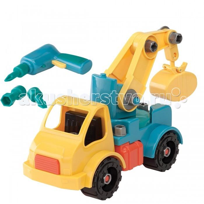 Конструктор Battat Разборный кран (30 элементов)Разборный кран (30 элементов)Конструктор Battat Разборный кран (30 элементов) представляет собой две игрушки в одной. Это и конструктор, и самостоятельная машина, с которой можно играть в различные сюжетно–ролевые игры.   Занимаясь с такой игрушкой, у мальчика разовьется моторика рук, пространственное мышление, логика, понимание причинно-следственных связей, фантазия, ловкость, воображение и усидчивость.   Конструктор состоит из 30 деталей, которые можно собрать при помощи электронного шуруповерта, работающего от двух батареек типа АА. Питание для шуруповерта нужно приобрести дополнительно, так как батарейки не включены в комплект. К шуруповерту прилагаются три насадки различных размеров, которые без труда установят любую деталь конструктора.   Такая игрушка покорит ребят, любящих собирать и разбирать машинки. После того, как Кран будет сделан, мальчик сможет устроить настоящие гонки и лихие виражи, которые будут такой серьезной технике нипочем.<br>
