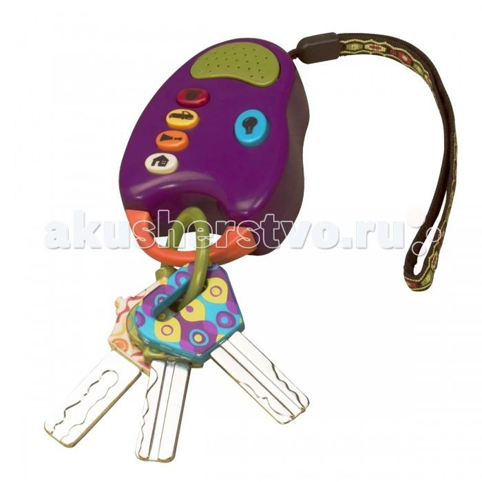 Музыкальная игрушка Battat Ключики от машиныКлючики от машиныМузыкальная игрушка Battat Ключики от машины большие размером, яркие и красивые. Игрушка оснащена кнопками, которые ребенок может нажимать и слушать различные звуки, а также лампочка – фонарик.  Звук четырех веселых ключиков от машины специально адаптирован для детских ушек: звуковой сигнал, зажигание, дистанционное открытие двери, звонок в дверь.   При нажатии кнопок загорается огонек. Ключи сделаны из безопасного материала, который ребенок может грызть.   Игрушка работает от 2 батареек ААА (входят в комплект)  Игрушка упакована в красивую коробку.<br>