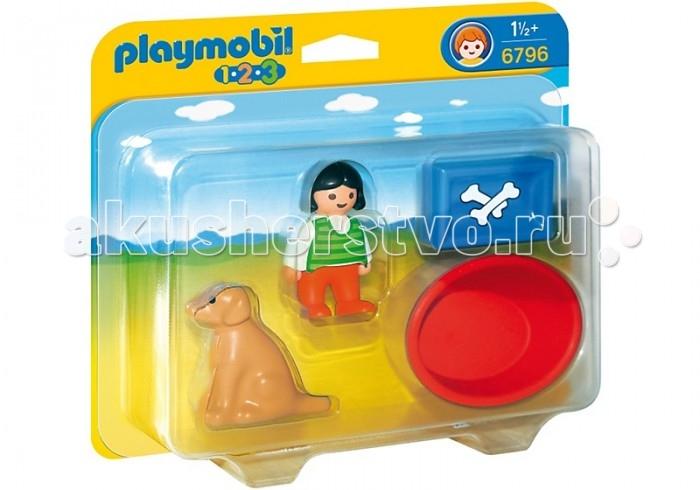 Конструктор Playmobil 1.2.3.: Девочка с собакой1.2.3.: Девочка с собакойPlaymobil 1.2.3.: Девочка с собакой.  Как здорово иметь домашнего питомца! Особенно, собаку – всем детям это известно. Детки любят играть и гулять вместе со своим любимцем, кормить его и укладывать на место. Игровой набор... Как здорово иметь домашнего питомца! Особенно, собаку – всем детям это известно. Детки любят играть и гулять вместе со своим любимцем, кормить его и укладывать на место. Игровой набор Девочка с собакой - как раз для тех малышей, которые обожают собак.   Девочка может кормить своего четвероногого друга из специальной миски, может учить его команде сидеть, а может прогуливаться с ним по парку или саду. А может даже отправиться с ним на пляж, чтобы смотреть на чаек и резвиться в песке. Пусть ваш малыш сам придумает, чем займутся его новые друзья! Корзина подходит для всех уже существующих собак и кошек из ассортимента серии 1.2.3. Серия 1.2.3 Playmobil - потрясающие конструкторы из Германии для детей от 1,5 до 3 лет!   С первой маленькой фигурки и до последней большой детали ребенок будет увлечен и восхищен разнообразием, функциональностью, оригинальным дизайном и удобными формами игрушек. Теперь вопрос «Что подарить?» исчезнет у родителей и близких. Конечно, Playmobil! Продукция сертифицирована, экологически безопасна для ребенка, использованные красители не токсичны и гипоаллергенны.  В набор входят:  1 фигурка человечка  1 фигурка собаки.  Дополнительные аксессуары:  1 корзина  1 миска.  Описание фигурок:  1 фигурка мальчика: подвижные ноги и вращающаяся голова, дизайн одежды соответствуют тематике набора  1 фигурка собаки: зафиксирована в положении сидя.<br>
