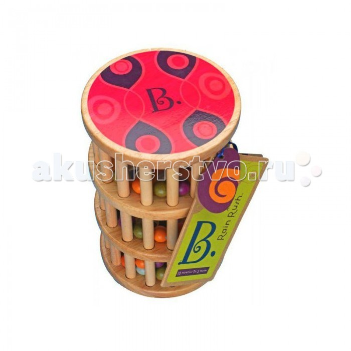 Деревянная игрушка Battat Шум дождяШум дождяДеревянная игрушка Battat Шум дождя привлечет малыша яркими красками и множеством подвижных шариков.   Особенности: 42 деревянных шарика имитируют звук проливного дождя прокатите игрушку по комнате и наблюдайте, как Ваш ребенок с интересом следует за ней искусная деревянная работа с гладкой поверхностью предназначена для маленьких ручек имеет достаточно эстетический вид, чтобы поставить ее на Ваш журнальный столик.<br>