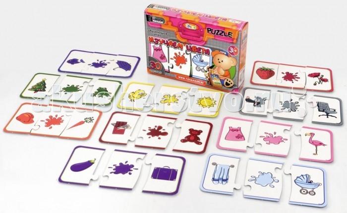 Rico Обучающая игра Изучаем цветаОбучающая игра Изучаем цветаRico Обучающая игра Изучаем цвета 16-002  С помощью веселой развивающей игры «Изучаем цвета» малыш познакомится с десятью основными цветами: красным, оранжевым, желтым, коричневым, синим, голубым, фиолетовым, розовым, серым и зеленым. В набор входят карточки из плотного картона, каждая из которых состоит из трех составляющих-пазлов. На одной части изображен цвет, а на двух других подходящие ему предметы — растения, животные, одежда и другие.  От ребенка требуется проявить смекалку и подобрать подходящие друг другу части-пазлы, чтобы собрать цветовую карточку.  Набор входит в серию обучающих игр «Школа для малыша», которая направлена на развитие важных навыков. Игры серии тренируют память, помогают развить логическое и ассоциативное мышление, стимулируют внимания и развивают мелкую моторику рук. С помощью наборов из этой серии дети узнают много интересного об окружающем мире, научатся определять время, считать и познакомятся с иностранными языками. Если собрать всю коллекцию, то получится увлекательный и познавательный материал для обучения дошкольников.  В комплект набора входят 30 карточек.<br>