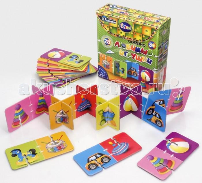 Rico Домино Любимые игрушкиДомино Любимые игрушкиRico Домино Любимые игрушки 11-001  Набор домино «Любимые игрушки» непременно вызовет восторг у малыша, ведь в нем собраны все столь милые сердцу игрушки детства — юла, пирамидка, барабан, машинка, мяч и, конечно, лошадка-качалка.  3D Домино — это традиционная игра в новом увлекательном формате. В набор входят двусторонние карточки из плотного картона с красочными картинками. В процессе игры участники по очереди подбирают карточки с одинаковыми изображениями и выстраивают длинный объемный лабиринт. Трехмерная конструкция гораздо надежнее чем плоскостная, так что она не развалится от случайного неловкого движения и не испортит веселье. Такая интересная игра надолго займет ребенка и поможет сформировать важные навыки. Объемное домино развивает моторику рук , внимательность, логику, пространственное мышление и учит малыша замечать сходства и отличия.  В комплект набора входит 28 двусторонних карточек с изображением игрушек.<br>