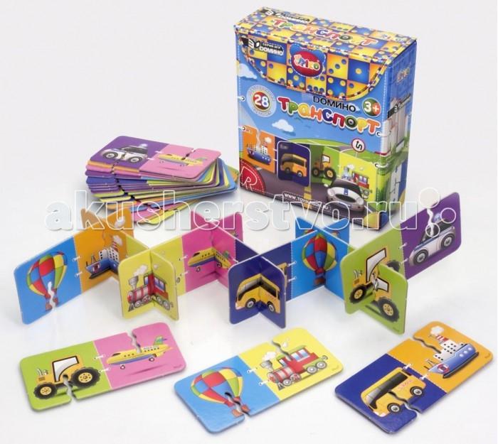 Rico Домино ТранспортДомино ТранспортRico Домино Транспорт 11-004  Набор домино «Транспорт» создан специально для маленьких любителей техники. Забавные пароходы, самолеты, тракторы и воздушные шары на красочных карточках набора не оставят равнодушным ни одного мальчишку.  3D Домино — это традиционная игра в новом увлекательном формате. В набор входят двусторонние карточки из плотного картона с красочными картинками. В процессе игры участники по очереди подбирают карточки с одинаковыми изображениями и выстраивают длинный объемный лабиринт. Трехмерная конструкция гораздо надежнее чем плоскостная, так что она не развалится от случайного неловкого движения и не испортит веселье. Такая интересная игра надолго займет ребенка и поможет сформировать важные навыки. Объемное домино развивает моторику рук , внимательность, логику, пространственное мышление и учит малыша замечать сходства и отличия.  В комплект набора входит 28 двусторонних карточек с изображением транспорта.<br>