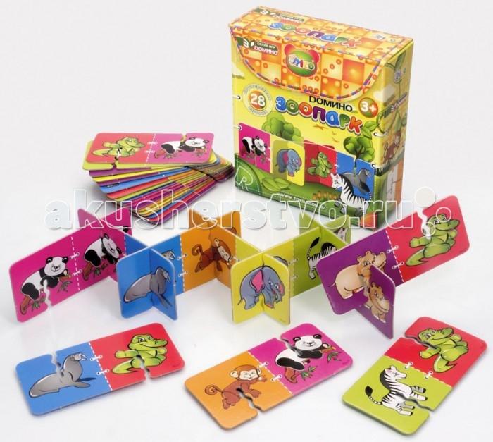 Rico Домино ЗоопаркДомино ЗоопаркRico Домино Зоопарк 11-005  Набор домино «Зоопарк» придется по душе любителям животных. Благодаря милым рисункам малыш сможет познакомиться с такими экзотическими животными, как панда, слон, зебра, аллигатор и другими.  3D Домино — это традиционная игра в новом увлекательном формате. В набор входят двусторонние карточки из плотного картона с красочными картинками. В процессе игры участники по очереди подбирают карточки с одинаковыми изображениями и выстраивают длинный объемный лабиринт. Трехмерная конструкция гораздо надежнее чем плоскостная, так что она не развалится от случайного неловкого движения и не испортит веселье. Такая интересная игра надолго займет ребенка и поможет сформировать важные навыки. Объемное домино развивает моторику рук , внимательность, логику, пространственное мышление и учит малыша замечать сходства и отличия.  В комплект набора входит 28 двусторонних карточек с изображением животных.<br>