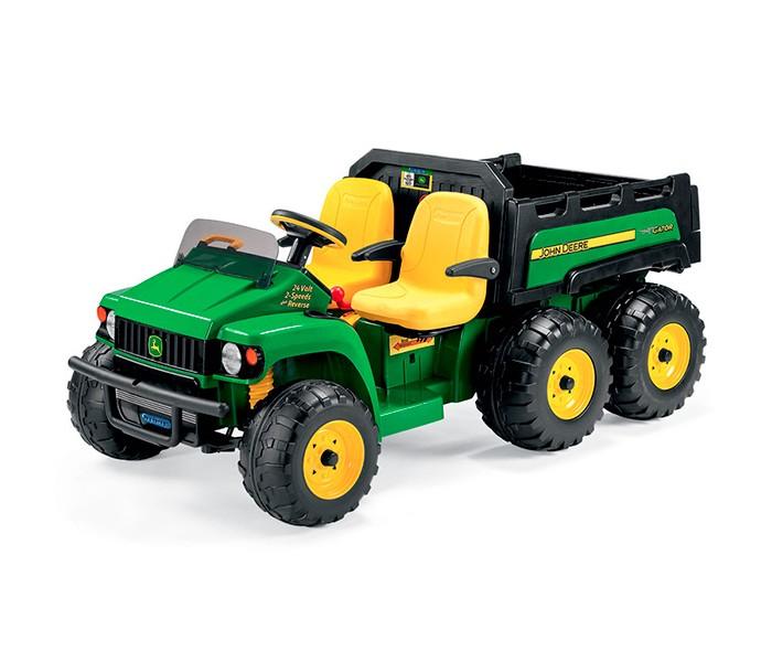 Электромобиль Peg-perego JD Gator HPX 6*4JD Gator HPX 6*4JD Gator HPX 6*4 - это достаточно серьезный электромобиль зарекомендовавшей себя компании детских товаров Peg-Perego. Он выглядит очень солидно и мощно, сочетание зеленого, желтого и черного цветов выглядит очень эффектно. У электромобиля 6 мощных колес, которые оснащены внедорожными протекторами, что обеспечивает максимальное сцепление с дорожным покрытием.   Джип вмещает двух детей и выдерживает общий вес до 60 кг. Передвигаться ребенок может на двух скоростях, которые переключаются рычагом: 3.5 км/час и 7 км/час. Также предусмотрена возможность заднего движения, при этом скорость не превышает 3.5 км/час. У машины ножное управление, осуществляется нажатием на педаль.  Удобные сиденья электромобиля выполнены из пластика, их высота регулируется по мере роста ребенка. Для дополнительной безопасности детей предусмотрено затемненное лобовое стекло. Джип оснащен подъемным кузовом с откидной дверкой, он достаточно вместительный - ребенок может перевозить какие-либо грузы. Электрогрузовик способен преодолевать незначительные подъемы и в целом очень маневренный.  В комплект также входит набор наклеек, с которыми маленький автолюбитель сможет декорировать электромобиль по своему усмотрению.  Максимальная нагрузка: 60 кг. Время непрерывной езды: 30 мин. Общая мощность: 175Wx4. Тормоз: двигателем. Колеса: пластик. Количество скоростей: 2. Максимальная скорость: 7 км/час. Привод: 4 задних. Вольтаж: 24 Вольта. Емкость АКБ: 8ah. Время полной зарядки аккумулятора: 10-15 часов. Звук: клаксон. Габариты (длина x ширина x высота): 171 &#215; 90 &#215; 75.5 см. Вес: 40.5 кг. Комплектация: Электромобиль, аккумулятор, зарядное устройство, комплект наклеек, инструкция на русском, гарантия<br>
