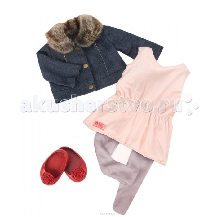 Our Generation Dolls Одежда для куклы 46 смОдежда для куклы 46 смОдежда для куклы 46 см - модный и стильный комплект для куклы 46 см, состоящий из джинсовой куртки с меховым воротничком, туники, легинсов и балеток. Дополнительный комплект одежды для куклы позволит создать новый образ или дополнить имеющийся, например, курточкой.<br>