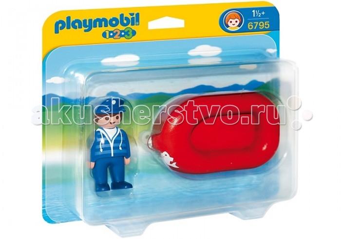 Конструктор Playmobil 1.2.3.: Человек на лодке1.2.3.: Человек на лодкеPlaymobil 1.2.3.: Человек на лодке.  Летние приключения на воде с набором Человек на лодке! Любой водоём от белой раковины до синего моря теперь становится игровой площадкой. Лодка устроена таким образом, что с легкостью будет держаться на поверхности воды и на суше. Малыш может привязать любой шнурок, не входит в набор, к отверстию на носу лодки и играть с ней без помощи рук. Маленькие капитаны и капитанши, внимание, мы отправляемся в морское путешествие!  С первой маленькой фигурки и до последней большой детали ребенок будет увлечен и восхищен разнообразием, функциональностью, оригинальным дизайном и удобными формами игрушек. Теперь вопрос Что подарить? исчезнет у родителей и близких. Конечно, Playmobil!  Описание набора: Лодка: 1 сидячее место, яркий дизайн на морскую тему, прекрасно держится на воде, фигурка человечка может стоять и сидеть в лодке.  Описание фигурок: 1 фигурка мальчика: подвижные ноги и вращающаяся голова, дизайн одежды соответствуют тематике набора.  В набор входят:  1 фигурка человечка 1 лодка.<br>