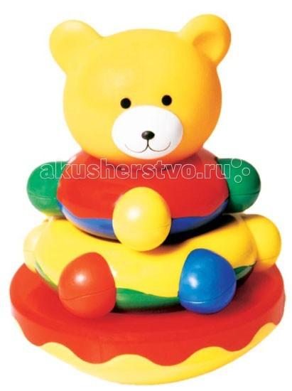 Развивающая игрушка Мир детства пирамидка Мишка-Топтыжкапирамидка Мишка-ТоптыжкаПирамидка Мишка - Топтыжка сляется одновременно пирамидкой, погремушкой и неваляшкой! Формирует у малыша представление о цвете, форме и размере, развивает моторику, логику, воображение, обучает счету. Материал: безопасный пластик.<br>