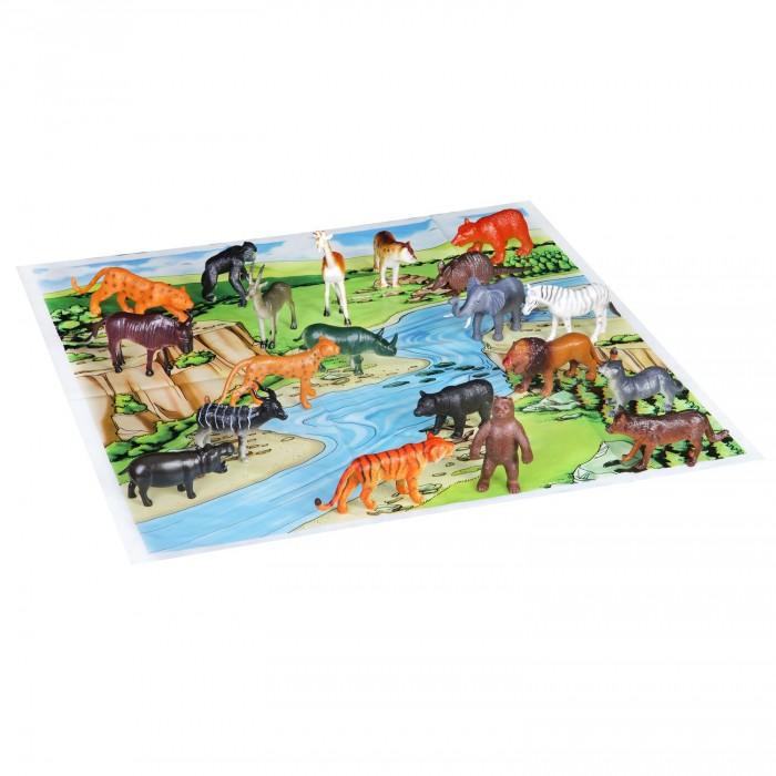 Bondibon Набор животных Ребятам о Зверятах Дикие животные 4 дюйма 20 шт. и игровое поле