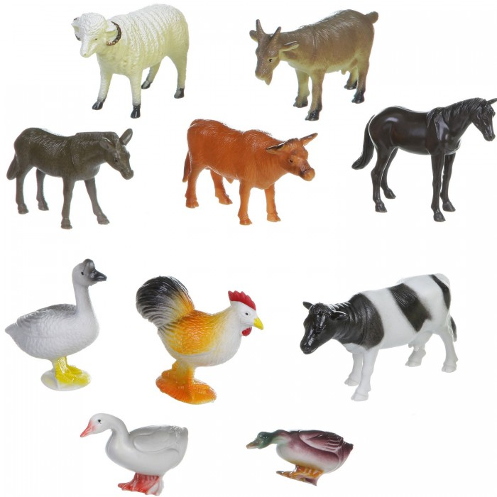 Bondibon Набор животных Ребятам о Зверятах Домашние животные и птицы 4 дюйма 10 шт.