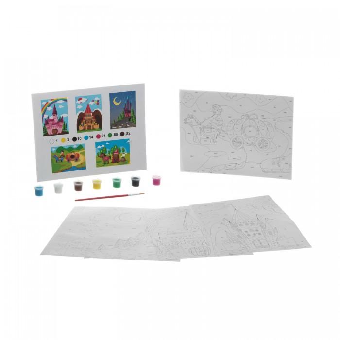 Раскраска Bondibon по номерам с акриловой краской, Сказочный замок, 22x29 см