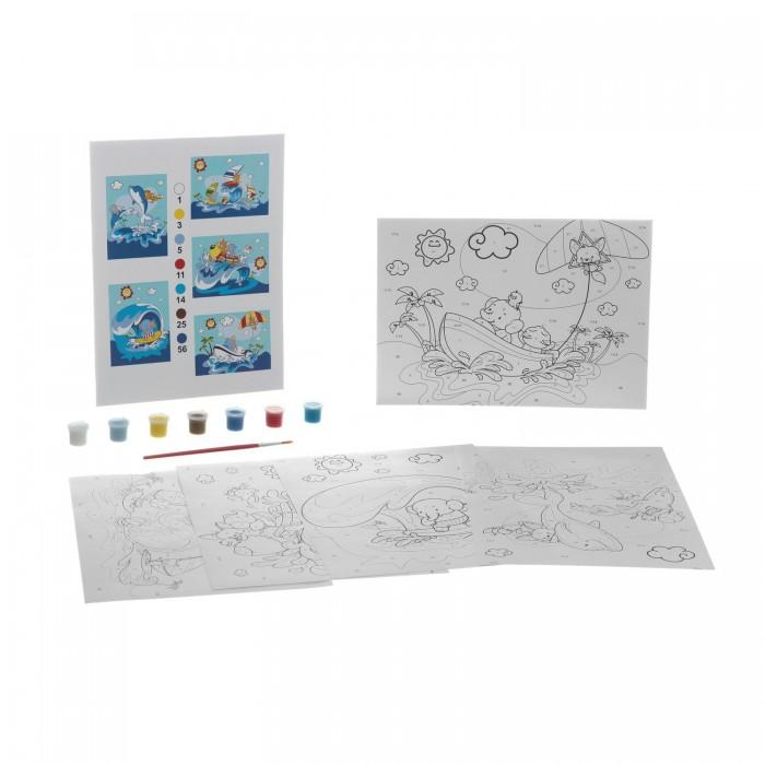 Раскраска Bondibon по номерам с акриловой краской, Морские приключения, 22x29 см