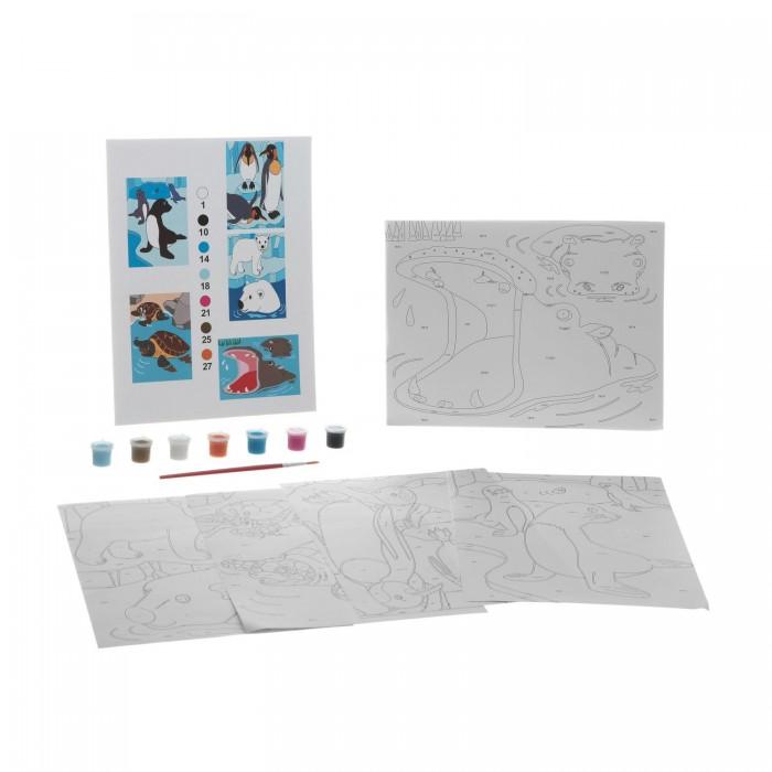 Раскраска Bondibon по номерам с акриловой краской, Полуводные животные, 22x29 см