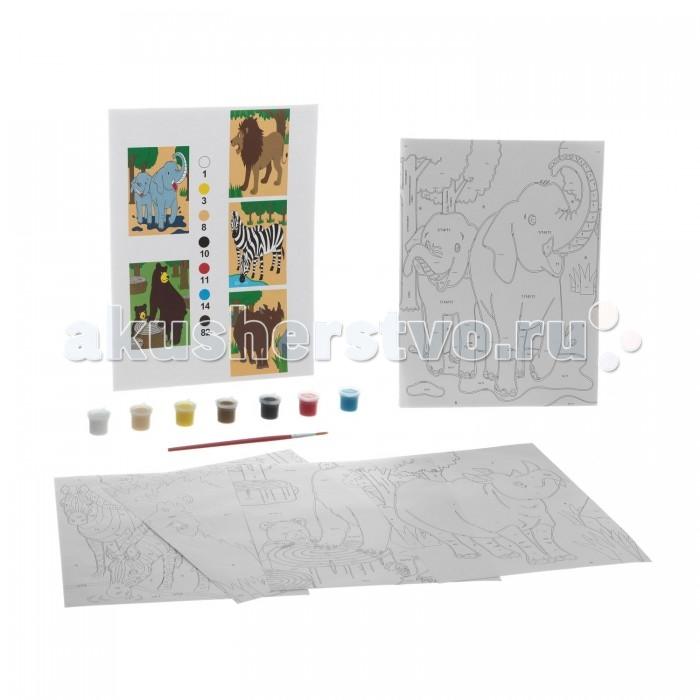 Раскраска Bondibon по номерам с акриловой краской, Животные Африки, 22x29 см
