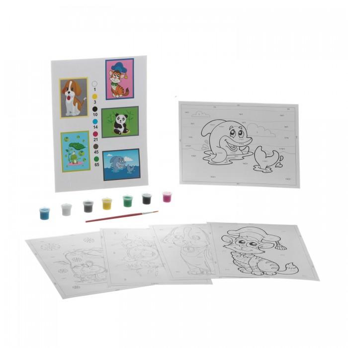 Раскраска Bondibon по номерам с акриловой краской, Животные, 22x29 см