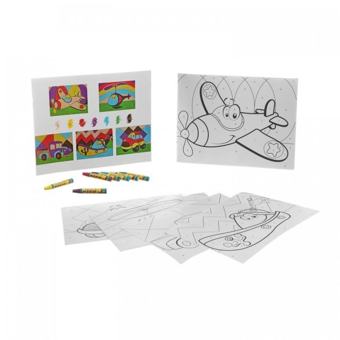 Раскраска Bondibon по номерам с пастельными мелками, Забавный транспорт, 22x29 см