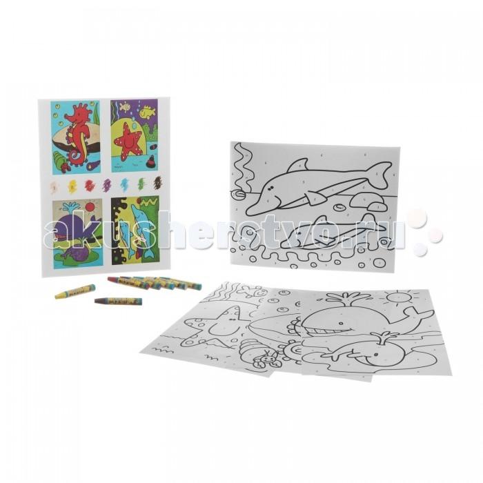 Раскраска Bondibon по номерам с астельными мелками, Морские обитатели, 22x29 см