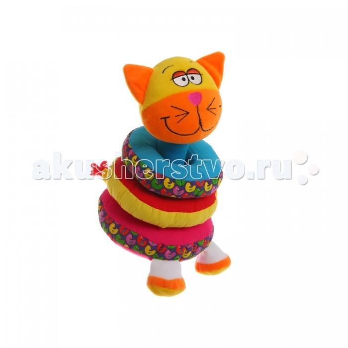 Развивающая игрушка Bondibon Пирамидка Кот 20 смПирамидка Кот 20 смПирамидка Кот 20 см  Мягкая пирамидка – это замечательная развивающая игрушка для малышей. Она выполнена в ярких цветах в форме кота, и отлично развивает мелкую моторику малыша, учит отличать цвета, дает первый тактильный опыт.   Если потрясти пирамидку, то она будет греметь, а также ее можно разобрать на части. Такая игрушка станет отличным подарком для вашего малыша!<br>