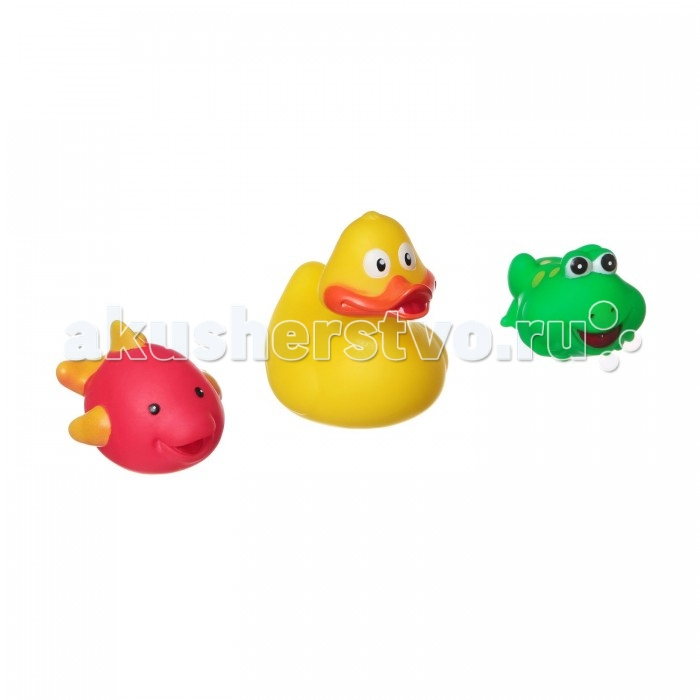Bondibon Игровой набор для купания 3 шт. ВВ1394Игровой набор для купания 3 шт. ВВ1394Игровой набор для купания утенок, лягушка, дельфин, 3 шт.  Игрушки для ванной способны превратить ежедневное купание в увлекательное и обучающее занятие. В качестве самой первой игрушки для купания отлично подойдут безопасные и яркие игрушки для купания ТМ Baby You Bondibon! Они сделают процесс купания непринужденным и увлекательным. Малышу будет весьма интересно наблюдать, как игрушки плавают и не тонут.   Кроха обязательно попытается поймать и схватить их. Такие простые действия для взрослых и такие интересные и познавательные для маленького ребенка.   С помощью этих манипуляций малыш разовьет мелкую моторику, познавательные способности и общие двигательные навыки.<br>