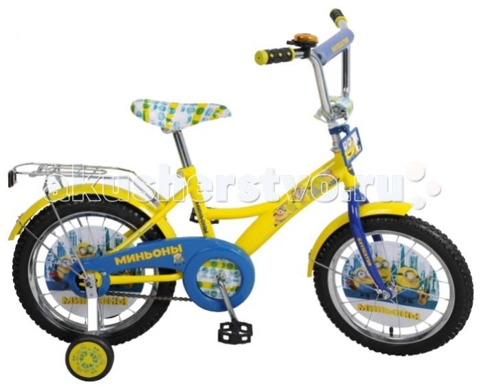 Велосипед двухколесный Navigator Миньоны 16 KiteМиньоны 16 KiteВелосипед Navigator Миньоны 16 Kite - это хорошо собранный и надёжный велосипед для ребёнка. Модель подойдет для ребенка ростом 105-125 см. Детский велосипед с ярким дизайном и популярной лицензией Миньоны.  Велосипед оснащен багажником и звонком. Катание на велосипеде благоприятно влияет на здоровье, укрепляет мышцы, развивает зрение, учит ориентироваться в пространстве и принимать решения.   Особенности: Тип: детский Материал рамы: сталь Амортизация: отсутствует Конструкция вилки: жесткая Конструкция рулевой колонки: неинтегрированная, резьбовая Диаметр колес: 16 дюймов Материал обода: алюминиевый сплав Двойной обод: нет Шатун: односоставной Возможность крепления боковых колес: есть Боковые колеса в комплекте: есть Тип переднего тормоза: отсутствует Тип заднего тормоза: ножной Уровень заднего тормоза: начальный Количество скоростей: 1 Уровень каретки: начальный Конструкция каретки: неинтегрированная Тип посадочной части вала каретки: квадрат Количество звезд в кассете: 1 Количество звезд системы: 1 Конструкция педалей: платформы Конструкция руля: изогнутый Настройка положения руля: регулируемый подъем Материал рамки седла: сталь Комфорт: защита цепи, мягкая накладка на руле<br>