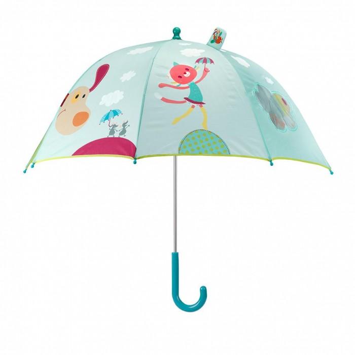Детский зонтик Lilliputiens Собачка ДжефСобачка ДжефLilliputiens Собачка Джеф: зонтик.  Зонт детский Lilliputiens Собачка Джеф - это яркий аксессуар для малыша от известной бельгийской компании.. Ребёнку понравится такой красивый зонтик с забавными узорами, смешными рисунками и маленьким окошком. Концы спиц закрыты пластмассовыми шариками, чтобы избежать нечаянных травм. Для безопасности ребёнка зонт имеет ручной механизм складывания.   Благодаря маленькому весу зонтика малыш сможет долгое время держать его самостоятельно, с удовольствием гуляя под дождём. Восемь стальных спиц обеспечивают прочность конструкции. Удобная закруглённая ручка удобно ложится в ручку малыша.  Особенности:  яркая расцветка  смотровое окошко малый вес прочная конструкция  тип складывания: трость  механизм складывания: ручной количество спиц: 8  материал купола: полиэстер  материал ручки: пластик  материал спиц: сталь  диаметр купола: 75 см длина в сложенном виде: 67 см.<br>