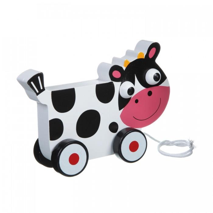 Каталка-игрушка Bondibon Каталка с веревочкой Коровка