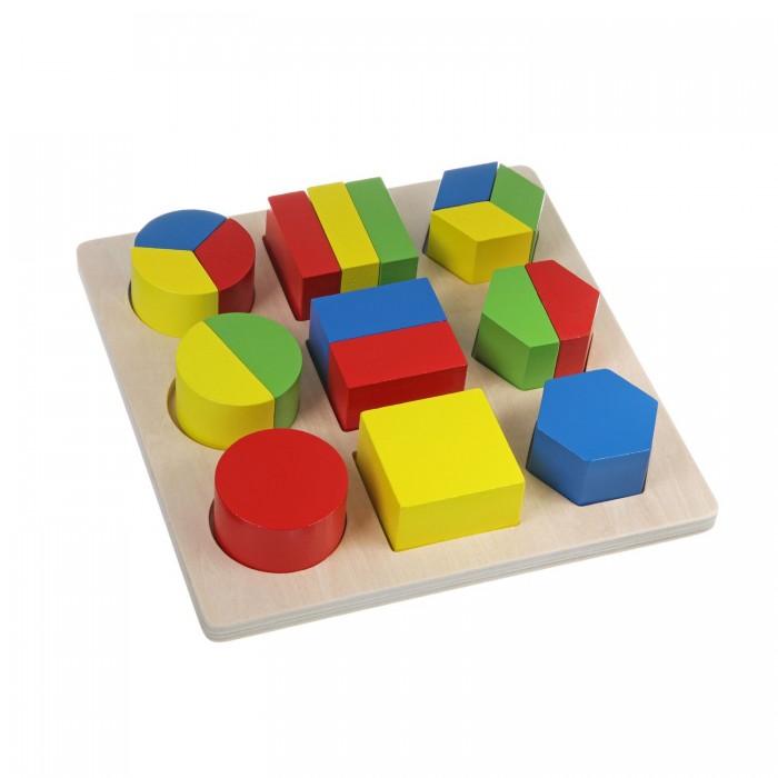 Деревянная игрушка Bondibon ДробиДробиИгрушка деревянная, развивающая, Дроби.  Рамка-вкладыш предназначается для развития воображения, пространственного мышления и мелкой моторики малыша. Она представляет собой доску-основание, на которой расположены девять геометрических фигур  кубы, цилиндры, параллелограммы и призмы. Часть геометрических фигур состоит из нескольких деталей, имеющих разный цвет.   Детали игрушки выполнены из экологически чистого материала  древесины, они не токсичны и безопасны для детей. Игрушка способствует развитию целостности восприятия, расширяет представление ребенка о предметах и явлениях окружающего мира, учит различать цвета и выделять связи между предметами.   Знание геометрических фигур являются необходимыми для развития логики и математических способностей, поэтому важно своевременно познакомить ребенка с ними.<br>