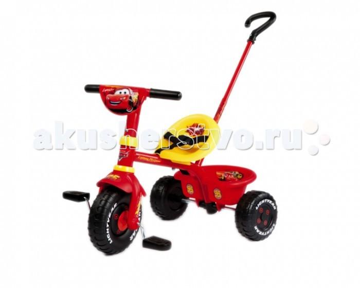 Велосипед трехколесный Smoby Be Fun CarsBe Fun CarsТрехколесный велосипед Smoby Be Fun Cars оформлен по мотивам всеми любимого мультипликационного фильма Тачки. Удобное сидение приспособлено специально для длительных прогулок. А корзина, которая прикреплена к велосипеду позволяет взять с собой все, что душе угодно.  Ремни безопасности призваны крепко держать малыша на сиденье. Малыш нажимает на педали и движется, а взрослый страхует за специальную ручку- держатель. Ручка может регулироваться по высоте и при необходимости сниматься.  Когда ваш малыш повзрослеет, ручку можно отсоединить и малыш будет кататься самостоятельно.<br>