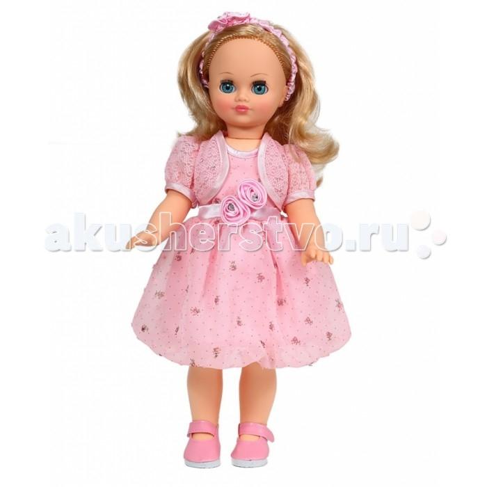 Весна Кукла Лиза 23 49 смКукла Лиза 23 49 смВесна Кукла Лиза 23 (озвученная) покорит сердце любой девочки! Обаятельный внешний вид и прелестные одежки игрушечной красавицы вызывают только самые добрые и положительные эмоции.  Особенности: У прелестной куклы Лизы от фабрики Весна нежные голубые глаза и роскошные золотистые локоны.  На ней надет чудесный праздничный костюмчик из нарядного шелкового платья, кружевного болеро и чудесного ободочка из шелка с аппликацией.  Комплект дополняют розовые туфельки. У Лизы закрываются глазки, и она умеет разговаривать. При нажатии на звуковое устройство, вставленное в спинку, кукла произносит различные фразы. Очаровательная кукла фирмы Весна покорит сердце любой девочки! Обаятельный внешний вид и прелестные одежки игрушечных красавиц вызывают только самые добрые и положительные эмоции. Куклы производятся на российских фабриках из нетоксичных, безопасных для детей материалов. Они отличаются высоким качеством, проработанностью деталей и гармоничными пропорциями тела. Голова и ручки кукол изготовлены из эластичного винила, очень приятного на ощупь, а туловище и ножки - из прочной пластмассы. У кукол густые мягкие волосы, которые можно мыть, расчесывать и заплетать как только захочется. Они прочно закреплены и способны выдержать практически любые творческие порывы ребенка. Особый восторг у маленьких модниц вызывают нарядные костюмы, которые можно снимать и менять. Дополнительно к куклам выпускаются самые разнообразные комплекты одежды. С прелестной куклой отечественного производства возможно не просто весело проводить время, но и научиться одеваться по сезону. Игра с очаровательными куклами поможет развить мелкую моторику, а возможность менять костюмчики и прически формирует эстетический вкус. Милая игрушка станет лучшей подружкой для девочки и научит ребенка доброте и заботе о других.  Производитель оставляет за собой право изменения цветовой гаммы одежды и волос куклы, цвет глаз может варьироваться.<br>