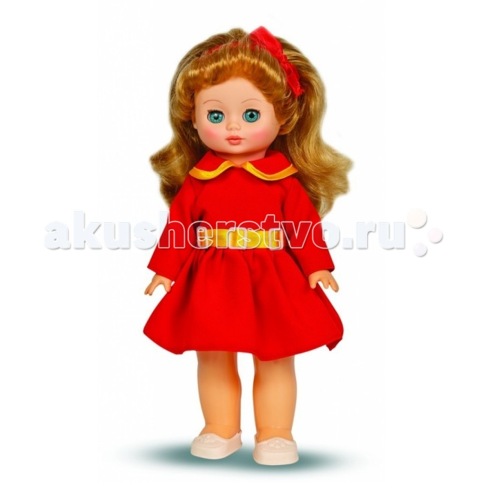 Весна Кукла Жанна 7 42 смКукла Жанна 7 42 смВесна Кукла Жанна 7 (озвученная) покорит сердце любой девочки! Обаятельный внешний вид и прелестные одежки игрушечной красавицы вызывают только самые добрые и положительные эмоции.  Особенности: У чудесной куклы Жанны лазурно-голубые глаза и роскошные золотистые волосы.  На ней надето нарядное красное платье с воротничком и белые туфельки. Комплект дополняет ободок из атласной ленты в тон платью. У Жанны закрываются глазки, и она умеет разговаривать.  При нажатии на звуковое устройство, вставленное в спинку, кукла произносит следующие фразы:  - Теперь ты моя подруга.  - Ты не забыла - сегодня мы идем на праздник.  - Нам нужно быть красивыми.  - Сделай мне прическу!  - Получилось очень красиво!  - Теперь себе.  - Не забудь про маникюр.  - А нарядное платье?  - Мы сегодня самые красивые!  Очаровательная кукла фирмы Весна покорит сердце любой девочки! Обаятельный внешний вид и прелестные одежки игрушечных красавиц вызывают только самые добрые и положительные эмоции. Куклы производятся на российских фабриках из нетоксичных, безопасных для детей материалов. Они отличаются высоким качеством, проработанностью деталей и гармоничными пропорциями тела. Голова и ручки кукол изготовлены из эластичного винила, очень приятного на ощупь, а туловище и ножки - из прочной пластмассы. У кукол густые мягкие волосы, которые можно мыть, расчесывать и заплетать как только захочется. Они прочно закреплены и способны выдержать практически любые творческие порывы ребенка. Особый восторг у маленьких модниц вызывают нарядные костюмы, которые можно снимать и менять. Дополнительно к куклам выпускаются самые разнообразные комплекты одежды. С прелестной куклой отечественного производства возможно не просто весело проводить время, но и научиться одеваться по сезону. Игра с очаровательными куклами поможет развить мелкую моторику, а возможность менять костюмчики и прически формирует эстетический вкус. Милая игрушка станет лучшей подружкой для девочки и науч