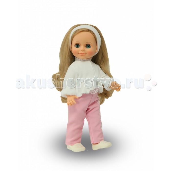 Весна Кукла Анна 15 49 смКукла Анна 15 49 смВесна Кукла Анна 15 (озвученная) покорит сердце любой девочки! Обаятельный внешний вид и прелестные одежки игрушечной красавицы вызывают только самые добрые и положительные эмоции.   Особенности: У очаровательной куклы Анны ясные голубые глаза, пушистые ресницы и роскошные светлые волосы.  На ней надеты топ с вязаным кружевом, брюки из костюмной ткани, укороченная курточка из флиса.  Ободок из флиса, балетки. На голове у куклы - ободок из флиса в тон курточке. У Анны закрываются глазки, и она умеет разговаривать. При нажатии на звуковое устройство, вставленное в спинку, кукла произносит различные фразы.   Очаровательная кукла фирмы Весна покорит сердце любой девочки! Обаятельный внешний вид и прелестные одежки игрушечных красавиц вызывают только самые добрые и положительные эмоции. Куклы производятся на российских фабриках из нетоксичных, безопасных для детей материалов. Они отличаются высоким качеством, проработанностью деталей и гармоничными пропорциями тела. Голова и ручки кукол изготовлены из эластичного винила, очень приятного на ощупь, а туловище и ножки - из прочной пластмассы. У кукол густые мягкие волосы, которые можно мыть, расчесывать и заплетать как только захочется. Они прочно закреплены и способны выдержать практически любые творческие порывы ребенка. Особый восторг у маленьких модниц вызывают нарядные костюмы, которые можно снимать и менять. Дополнительно к куклам выпускаются самые разнообразные комплекты одежды. С прелестной куклой отечественного производства возможно не просто весело проводить время, но и научиться одеваться по сезону. Игра с очаровательными куклами поможет развить мелкую моторику, а возможность менять костюмчики и прически формирует эстетический вкус. Милая игрушка станет лучшей подружкой для девочки и научит ребенка доброте и заботе о других.  Производитель оставляет за собой право изменения цветовой гаммы одежды и волос куклы, цвет глаз может варьироваться.<br>