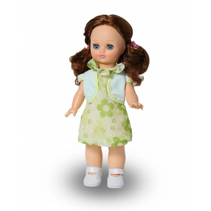 Весна Кукла Элла 3 42 смКукла Элла 3 42 смВесна Кукла Элла 3 (озвученная) покорит сердце любой девочки! Обаятельный внешний вид и прелестные одежки игрушечной красавицы вызывают только самые добрые и положительные эмоции.   Особенности: У прелестной куклы Эллы от фабрики Весна красивые голубые глаза и густые каштановые волосы.  На ней надето чудесное летнее платье в цветочек, жилеточка и белые туфельки. У Эллы закрываются глазки, и она умеет разговаривать.  При нажатии на звуковое устройство, вставленное в спинку, кукла произносит различные фразы.  Очаровательная кукла фирмы Весна покорит сердце любой девочки! Обаятельный внешний вид и прелестные одежки игрушечных красавиц вызывают только самые добрые и положительные эмоции. Куклы производятся на российских фабриках из нетоксичных, безопасных для детей материалов. Они отличаются высоким качеством, проработанностью деталей и гармоничными пропорциями тела. Голова и ручки кукол изготовлены из эластичного винила, очень приятного на ощупь, а туловище и ножки - из прочной пластмассы. У кукол густые мягкие волосы, которые можно мыть, расчесывать и заплетать как только захочется. Они прочно закреплены и способны выдержать практически любые творческие порывы ребенка. Особый восторг у маленьких модниц вызывают нарядные костюмы, которые можно снимать и менять. Дополнительно к куклам выпускаются самые разнообразные комплекты одежды. С прелестной куклой отечественного производства возможно не просто весело проводить время, но и научиться одеваться по сезону. Игра с очаровательными куклами поможет развить мелкую моторику, а возможность менять костюмчики и прически формирует эстетический вкус. Милая игрушка станет лучшей подружкой для девочки и научит ребенка доброте и заботе о других.  Производитель оставляет за собой право изменения цветовой гаммы одежды и волос куклы, цвет глаз может варьироваться.<br>