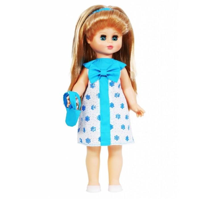 Весна Кукла Оля 5 49 смКукла Оля 5 49 смВесна Кукла Оля 5 (озвученная) покорит сердце любой девочки! Обаятельный внешний вид и прелестные одежки игрушечной красавицы вызывают только самые добрые и положительные эмоции.   Особенности: У прелестной куклы Оли небесно-голубые глаза и длинные золотистые локоны. На ней надеты ситцевое платье с бантом и белые туфельки. У Оли закрываются глазки, и она умеет разговаривать.  При нажатии на звуковое устройство, вставленное в спинку, кукла произносит различные фразы.  Очаровательная кукла фирмы Весна покорит сердце любой девочки! Обаятельный внешний вид и прелестные одежки игрушечных красавиц вызывают только самые добрые и положительные эмоции. Куклы производятся на российских фабриках из нетоксичных, безопасных для детей материалов. Они отличаются высоким качеством, проработанностью деталей и гармоничными пропорциями тела. Голова и ручки кукол изготовлены из эластичного винила, очень приятного на ощупь, а туловище и ножки - из прочной пластмассы. У кукол густые мягкие волосы, которые можно мыть, расчесывать и заплетать как только захочется. Они прочно закреплены и способны выдержать практически любые творческие порывы ребенка. Особый восторг у маленьких модниц вызывают нарядные костюмы, которые можно снимать и менять. Дополнительно к куклам выпускаются самые разнообразные комплекты одежды. С прелестной куклой отечественного производства возможно не просто весело проводить время, но и научиться одеваться по сезону. Игра с очаровательными куклами поможет развить мелкую моторику, а возможность менять костюмчики и прически формирует эстетический вкус. Милая игрушка станет лучшей подружкой для девочки и научит ребенка доброте и заботе о других.  Производитель оставляет за собой право изменения цветовой гаммы одежды и волос куклы, цвет глаз может варьироваться.<br>