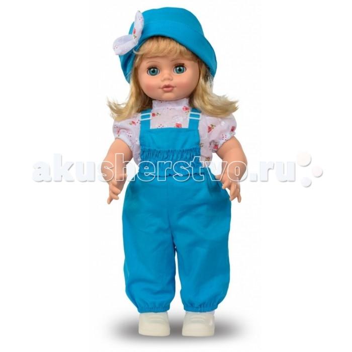 Весна Кукла Инна 10 49 смКукла Инна 10 49 смВесна Кукла Инна 10 (озвученная) покорит сердце любой девочки! Обаятельный внешний вид и прелестные одежки игрушечной красавицы вызывают только самые добрые и положительные эмоции.   Особенности: У очаровательной малышки Инны большие голубые глаза и блестящие светлые волосы.  На ней надеты блузка в цветочек, синий комбинезончик, шляпка, носочки и белые кроссовки. У Инны закрываются глазки, и она умеет разговаривать.  При нажатии на звуковое устройство, вставленное в спинку, кукла произносит следующие фразы:  - Мама, мы гуляли и испачкались…  - Давай умоемся!  - Налей воду. А где наша пена?  - Сколько пузырьков! Они лопаются.  - Дай мыло.  - Сначала вымой мне лицо и ручки.  - Спасибо. А теперь ножки…  - А где полотенце?  - Давай пускать мыльные пузыри.  - Здорово!  - Давай ещё!  Очаровательная кукла фирмы Весна покорит сердце любой девочки! Обаятельный внешний вид и прелестные одежки игрушечных красавиц вызывают только самые добрые и положительные эмоции. Куклы производятся на российских фабриках из нетоксичных, безопасных для детей материалов. Они отличаются высоким качеством, проработанностью деталей и гармоничными пропорциями тела. Голова и ручки кукол изготовлены из эластичного винила, очень приятного на ощупь, а туловище и ножки - из прочной пластмассы. У кукол густые мягкие волосы, которые можно мыть, расчесывать и заплетать как только захочется. Они прочно закреплены и способны выдержать практически любые творческие порывы ребенка. Особый восторг у маленьких модниц вызывают нарядные костюмы, которые можно снимать и менять. Дополнительно к куклам выпускаются самые разнообразные комплекты одежды. С прелестной куклой отечественного производства возможно не просто весело проводить время, но и научиться одеваться по сезону. Игра с очаровательными куклами поможет развить мелкую моторику, а возможность менять костюмчики и прически формирует эстетический вкус. Милая игрушка станет лучшей подружкой для девочки и научит ребенк