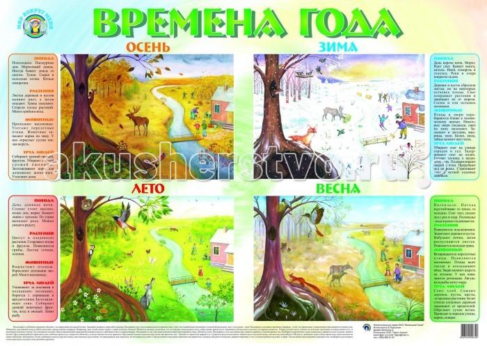 Маленький гений Плакат Времена годаПлакат Времена годаМаленький гений Плакат Времена года. Обучающие плакаты - незаменимый наглядный материал для увлекательного изучения окружающего мира, математики, русского языка.   Благодаря логичной структуре плакатов ребенок легко запоминает информацию. Знания подаются наглядно и обобщенно, в доступной и привлекательной форме.   В каждом плакате есть игры и вопросы для детей и рекомендации дня взрослых.<br>