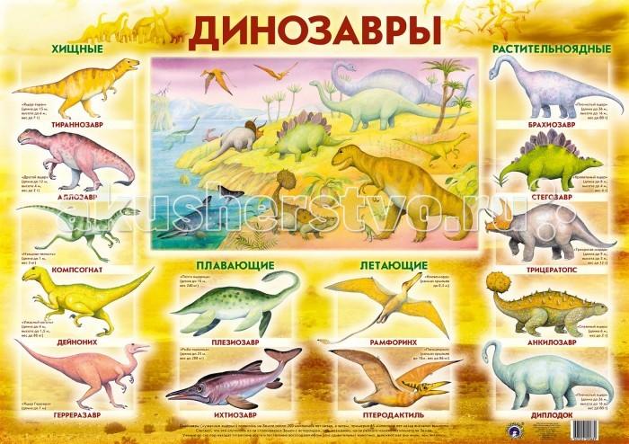 Маленький гений Плакат ДинозаврыПлакат ДинозаврыМаленький гений Плакат Динозавры. Обучающие плакаты - незаменимый наглядный материал для увлекательного изучения окружающего мира, математики, русского языка.   Благодаря логичной структуре плакатов ребенок легко запоминает информацию. Знания подаются наглядно и обобщенно, в доступной и привлекательной форме.   В каждом плакате есть игры и вопросы для детей и рекомендации дня взрослых.<br>