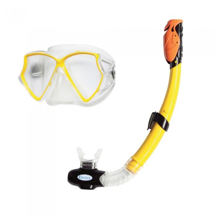 Intex Набор для подводного плавания Aviator ProНабор для подводного плавания Aviator ProПодводный мир это очень увлекательно! Если вам есть где плавать, не забудьте набор для подводного плавания Intex.  В наборе маска и трубка.  Маска выполнена из эластичного материала, который не вызывает аллергии.  Она плотно прилегает к коже и не пропускает воду. Линзы из поликарбоната, состоят из двух частей и обладают широким углом обзора. Ремешки маски мягкие и упругие.  Трубка для дыхания под водой с эластичным и удобным загубником. Оборудована встроенным силиконовым защитным клапаном.  Цвета в ассортименте!<br>