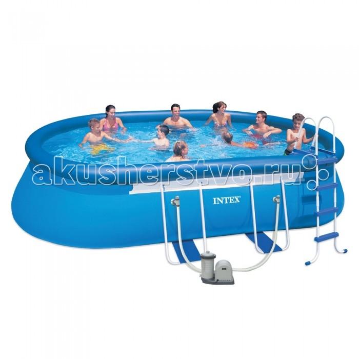Бассейн Intex каркасный 610х366х122 см с фильтромкаркасный 610х366х122 см с фильтромКаркасный бассейн Intex имеет прочный металлический ободок. Такая чудесная модель прекрасно для купания в жаркие летний день. Конструкцию можно поставить на заднем дворе дома или на дачном участке.   Бассейн собирается не больше чем за пол часа, что экономит время и позволит вашим детям не томиться в ожидании.   Бассейн очень прочный. Металлический каркас обеспечивает дополнительную устойчивость, стенки бассейна сделаны из трех слоев: первые два — это прочный винил, между стенками имеется сетка из полиэстера, благодаря которой конструкция будет дольше служить.   Бассейн с фильтрующим насосом для очистки воды 220V. Фильтрующий насос обеспечивает очистку воды и редкую ее замену (1 раз в месяц). Также в комплекте лестница высотой 122 см, тент для бассейна, подстилка под бассейн.  Водосток имеет удобную форму, которая отлично соединяется с садовым шлангом. Тем самым, спуская воду с бассейна, вы можете полить цветы на участке.  Размер: 610х366х122 см.  Вместимость бассейна: 16628 л.  Производительность насоса: 5678 л/ч.  Вес: 81 кг.<br>