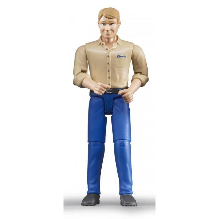 Bruder Фигурка мужчины в голубых джинсыФигурка мужчины в голубых джинсыBruder Фигурка мужчины в голубых джинсы  - интересная ситуативная игрушка для детей от 3 до 7 лет. Фигурка выполнена супер реалистично: четко прорисованные детали, 3-х мерные подвижные руки и ноги (шарнирный механизм), вращающаяся голова. Кисти рук фигурки выполнены таким образом, что все детали любого игрового набора Bruder прекрасно фиксируются в них (ведра, лопаты, вилы, строительные тележки и пр.). Фигурка мужчины идеально подходит для вождения всех машинок Bruder с открывающейся кабиной – игрушка легко помещается на сидении за счет сгибающихся ног, а руки надежно зафиксируют руль. Игра станет намного интереснее вместе с фигуркой – пусть ребенок сам решит, будет ли это трудолюбивый рабочий, внимательный водитель или веселый фермер. Игрушка прекрасно сыграет все придуманные ей роли.  Удивите своего ребенка, вручите ему игрушку Bruder! Продукция сертифицирована, экологически безопасна для ребенка, использованные красители не токсичны и гипоаллергенны.<br>