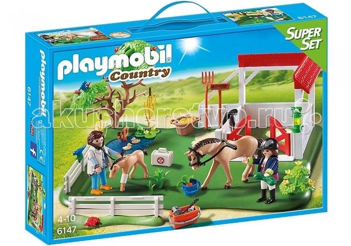 Конструктор Playmobil Супер набор: Загон для лошадейСупер набор: Загон для лошадейКонструктор Playmobil Супер набор: Загон для лошадей  Набор состоит из игровой площадки, на которой размещается загон для лошади и ее жеребенка, ветвистое дерево и небольшой прудик с семейством уток Ребенок сможет запрячь фигурку взрослой лошади и посадить на нее игрушечного жокея Для того чтобы животные были здоровы, за ними надо ухаживать: следить за питанием, чистить загон и проводить плановые осмотры В комплекте также имеются фигурка ветеринара с медицинским чемоданчиком, корзина с сеном и другие аксессуары, с помощью которых ребенок сможет ухаживать за лошадками.  В комплекте:  загон для лошадей 2 фигурки 2 лошади, аксессуары.<br>