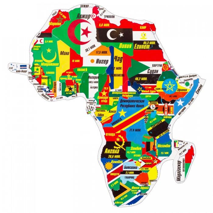 Геомагнит Магнитный пазл АфрикаМагнитный пазл АфрикаМагнитный пазл Африка в котором элементами являются страны Африки в контурах своих географических границ.  Пазл собирается в политическую карту, на которой все части света выполнены в единой картографической проекции и одном масштабе.  Контурный магнитный пазл помогает изучать названия государств, их столиц и национальные флаги, размеры стран и форму их границ и взаимное расположение, соседство стран и регионов и примерную актуальную численность населения государств.  Пазл можно собирать как на ровной горизонтальной поверхности, так и на ровных вертикальных металлических поверхностях - магнитно-маркерной доске или холодильнике.<br>